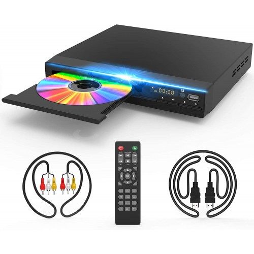Jinhoo DVD Player for TV, DVD CD Player with HD 1080p Upscaling, HDMI & AV Output (HDMI & AV Cable Included), All-Region Free, Coaxial Port, USB Input, Remote Control Included