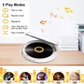 Jinhoo Bluetooth Portable CD Player with Wired Earbuds and 3.5mm Audio Cable, Anti-Skip/Shockproof Protection Small Music CD Walkman Players with LCD Display