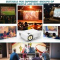 Jinhoo Mini Overhead Projector Full HD 1080P Supported, Home Theater Outdoor Movie Projector with 176'' Projection Size 55000 Hours, Compatible with TV Stick, HDMI, VGA, AV and USB