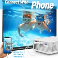 """2021 Upgrade Projector, Mini Video Projector with 6000 Brightness, 1080P Supported, Portable Outdoor Movie Projector, 176"""" Display Compatible with TV Stick, HDMI, USB, VGA, AV for Home Entertainment"""
